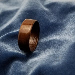 Bentwood Ring Hand Crafted from Walnut Size 12.5
